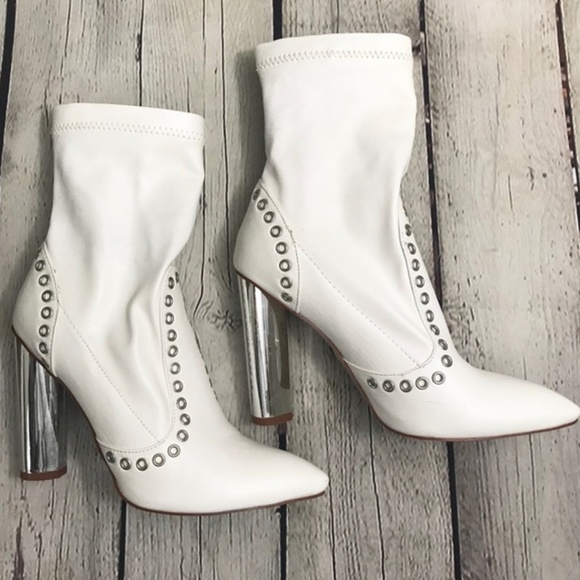 ff648e0c6 white faux leather studded boots with silver heel.  M_5bf72756819e90fcbb845edb